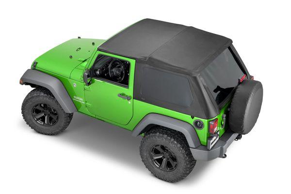 MasterTop 15501324 SkyMaster® Frameless Fastback Soft Top in MasterTwill Fabric for 07-18 Jeep Wrangler JK 2-Door