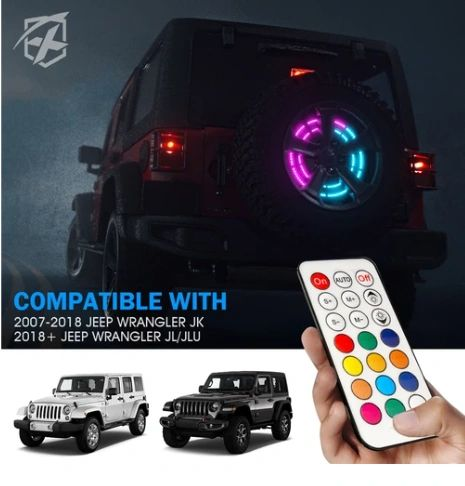 """14"""" Spare Tire RGB LED Brake Light with Remote Control For 2007-2018 Jeep Wrangler JK & 2018+ JL"""