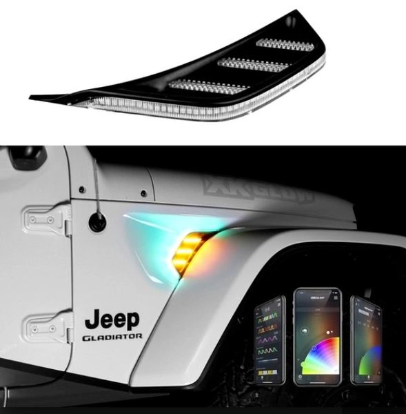 TURN SIGNAL RUNNING LIGHT FOR JEEP JL & JT FENDER VENT LIGHT RGB Amber