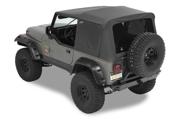 Bestop Complete Soft Top and Hardware with Tinted Windows without Upper Doors for 87-95 Jeep Wrangler YJ Black Vinyl 54601-01