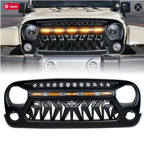 Venom Series Replacement Grille with LED Running Lights for Jeep Wrangler 2007-2018 JK