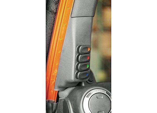 Rugged Ridge A-pillar rocker switch pod-black 07-13 Jeep Wrangler 17235.86