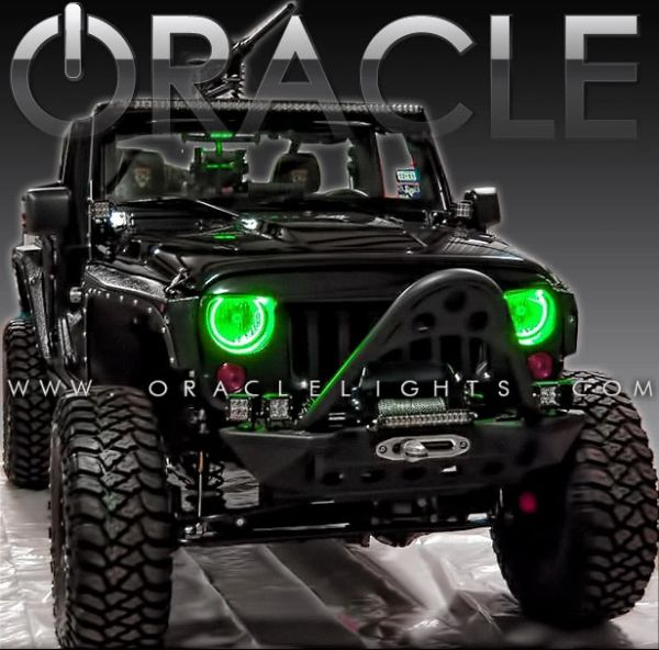 Oracle Green LED Halo Headlight Kits 07-18 Jeep Wrangler 3943