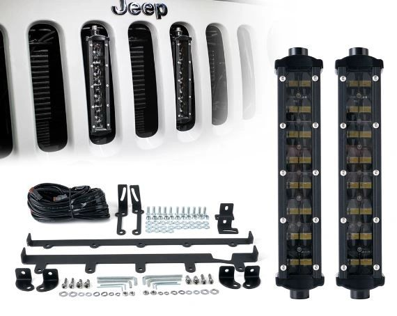 "8"" Double Row Philips LED Grille Light Kit for 2007-2017 Jeep Wrangler JK"