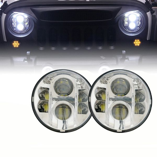 "7"" 120W CREE LED G4 Chrome Projector Headlights For 1997-2017 Jeep Wrangler"