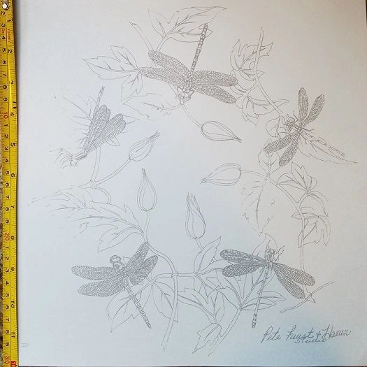 sku#4506 Decal - five Dragonflies on buds with leaves by Faust, Harvn
