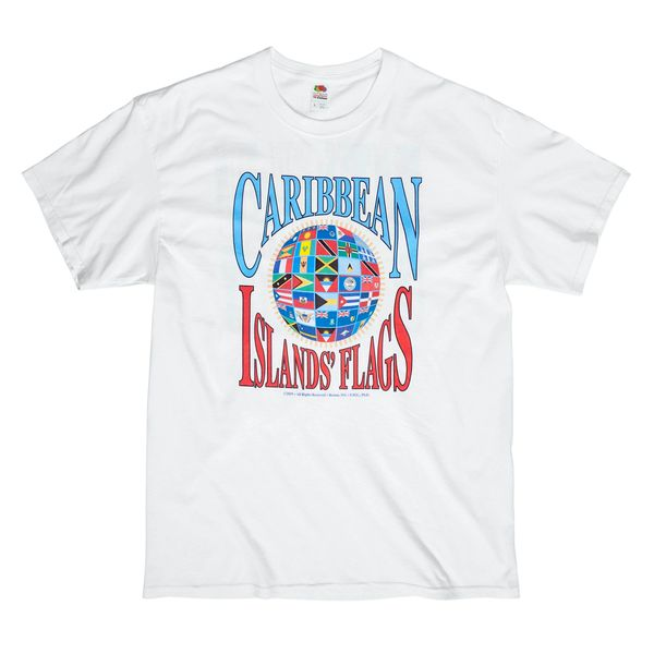 Caribbean Flags Tshirt. Click to see back of shirt. Sizes; M, L, XL. Next day shipping. Can special order other sizes (add $3.00). Takes 2-4 days to ship.