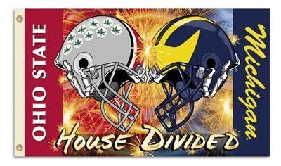 Ohio State Buckeyes Michigan Wolverines Divided Wall Banner Flag 3' x 5' NFL Licensed
