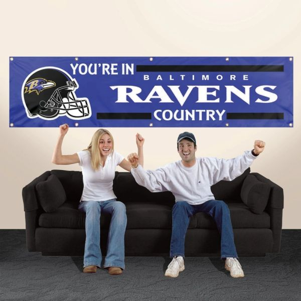 Baltimore Ravens 2' x 8' Wall Banner Flag NFL Licensed