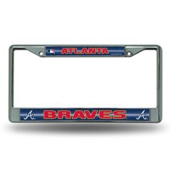 Atlanta Braves Chrome Bling License Plate Frame MLB Licensed