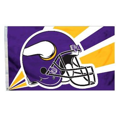 Minnesota Vikings Team Helmet Banner Flag 3'x5' NFL Licensed