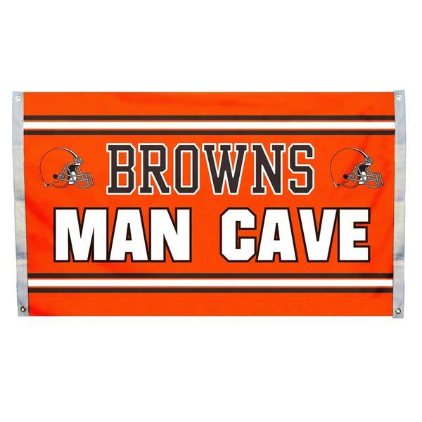 """Cleveland Browns """"Man Cave"""" 3' x 5' Banner Flag NFL Licensed"""