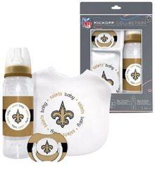 New Orleans Saints Baby BIB, Pacifier, Bottle Gift Set NFL