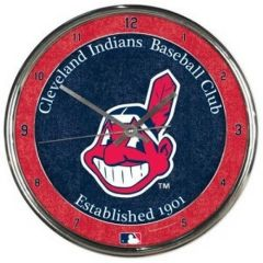 Cleveland Indians Chief Wahoo Chrome Wall Clock MLB Licensed