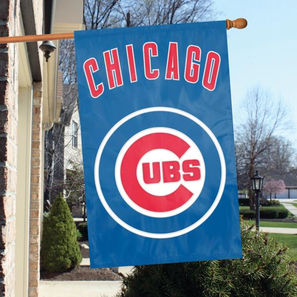 Chicago Cubs 2 Sided Embroidered Vertical House - Wall Flag