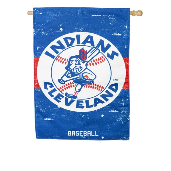 """Cleveland Indians Wahoo Vintage Vertical House - Wall Flag 28"""" x 44"""" MLB"""