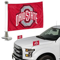 Ohio State Buckeyes Team Logo Ambassador Car Flag Set NCAA
