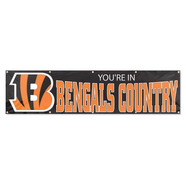 Cincinnati Bengals 2' x 8' Wall Banner Flag NFL Licensed