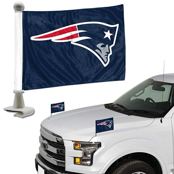 New England Patriots Team Logo Ambassador Car Flag Set NFL