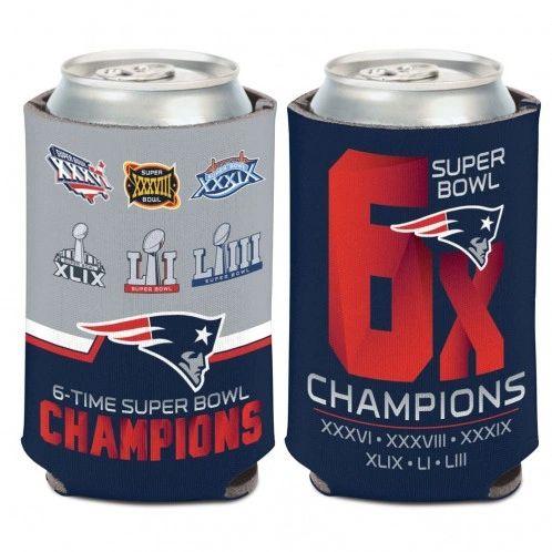 New England Patriots Super Bowl 6x Champions SB LIII Can Cooler Koozie