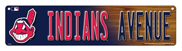"Cleveland Indians Acrylic Wall Street Sign Hi Res 4"" x 16"" MLB Licensed"