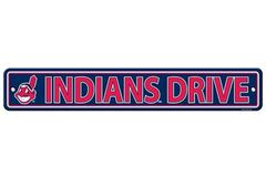"""Cleveland Indians Acrylic Wall Street Sign 4"""" x 24"""" MLB Licensed"""