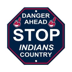 "Cleveland Indians Acrylic Wall Stop Sign 12"" x 12"" MLB Licensed"