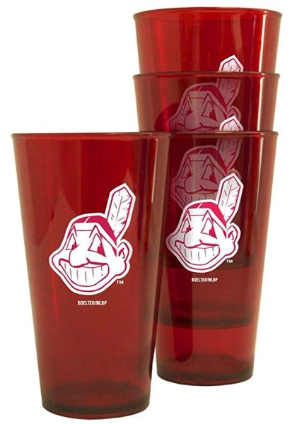 MLB Cleveland Indians WAHOO 4 Pack Acrylic Tailgate Party Tumbler Cups