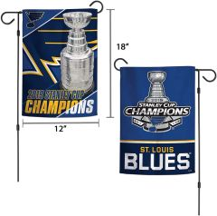 "St. Louis Blues 2019 Stanley Cup Champions Garden Flag 2 Sided 12"" x 18"""