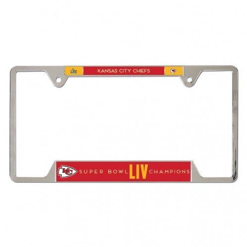 Kansas City Chiefs Super Bowl LIV Champions Chrome Metal License Plate Frame NFL