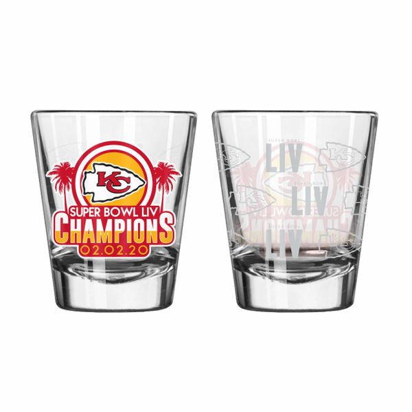 Kansas CIty Chiefs Super Bowl LIV Champions Etch Shot Glass 2oz. NFL