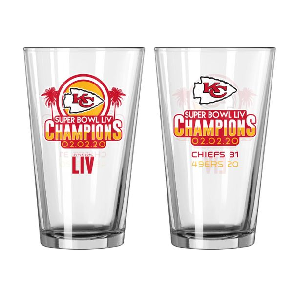 Kansas City Chiefs Super Bowl LIV Champions Summary Pint Glass 16oz. NFL