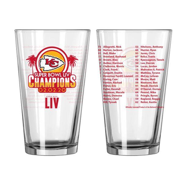 Kansas City Chiefs Super Bowl LIV Champions Roster Pint Glass 16oz. NFL