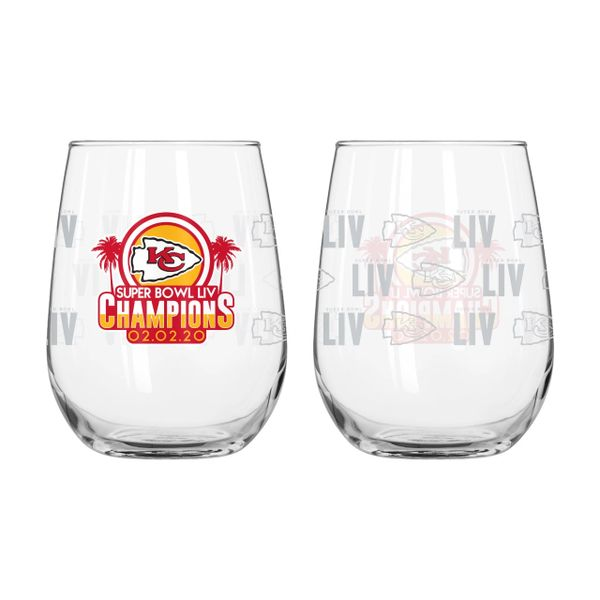 Kansas City Chiefs Super Bowl LIV Champions Stemless Wine Glass 16oz. NFL