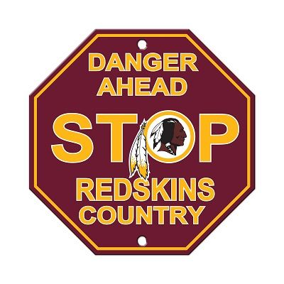 "Washington Redskins Acrylic Wall Stop Sign 12"" x 12"" NFL"