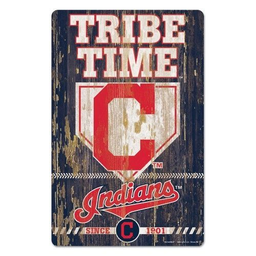 Cleveland Indians Tribe Time Wooden Wall Sign