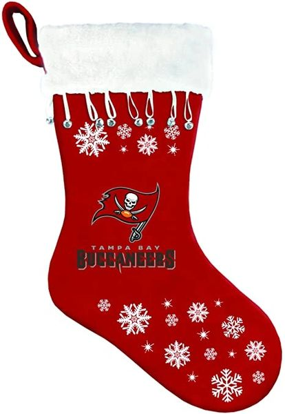 "NFL Team Logo Embroidered Snowflake Christmas Stocking 16"" Long"