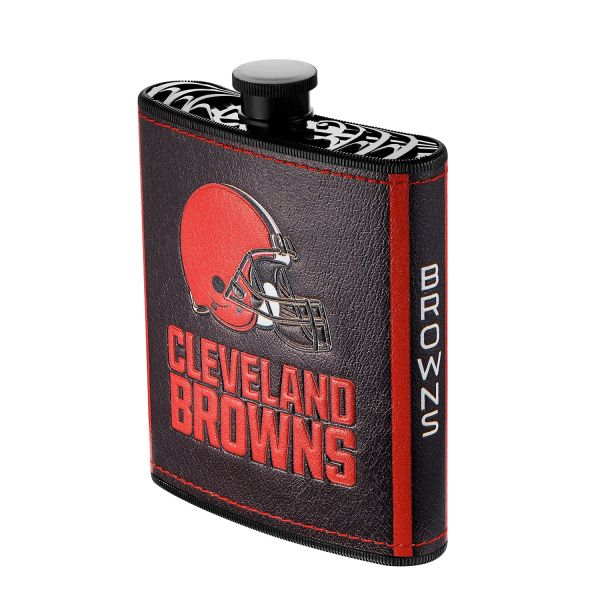 Cleveland Browns NFL Plastic Hip Flask w/ Team Colors and Logo