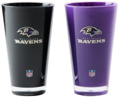 """Baltimore Ravens Acrylic 2 Pack Tumbler Cup 20oz. Round """"On Field Colors"""" NFL Licensed"""