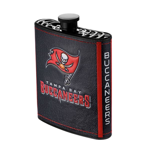 Tampa Bay Buccaneers NFL Plastic Hip Flask w/ Team Colors and Logo