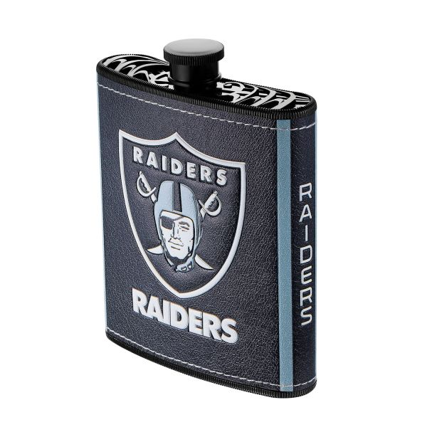 Las Vegas Raiders NFL Plastic Hip Flask w/ Team Colors and Logo