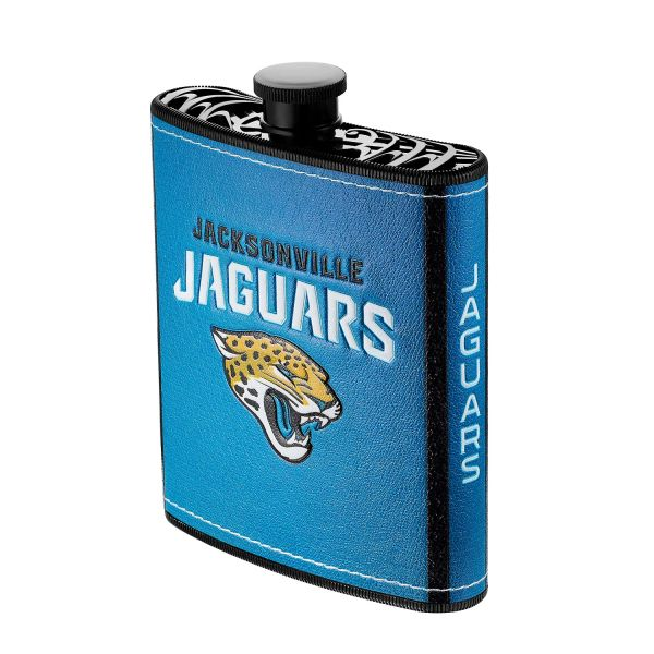 Jacksonville Jaguars NFL Plastic Hip Flask w/ Team Colors and Logo