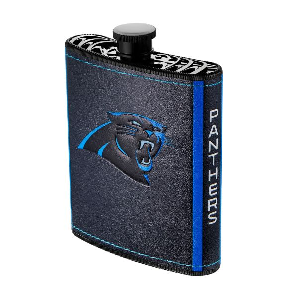 Carolina Panthers NFL Plastic Hip Flask w/ Team Colors and Logo