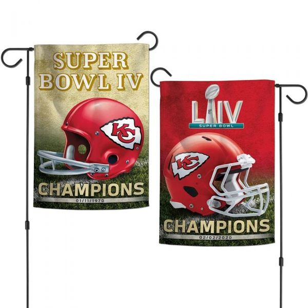 Kansas City Chiefs Super Bowl Then and Now Champions 2 Sided Garden Flag