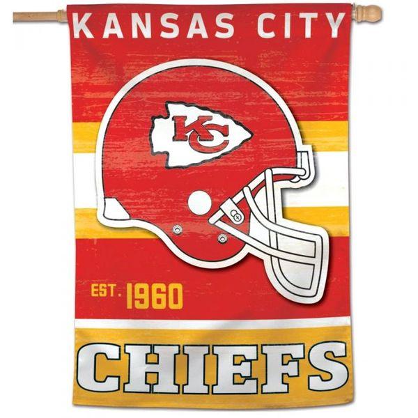 "Kansas City Chiefs Throwback Vintage Vertical Flag 20"" x 38"""