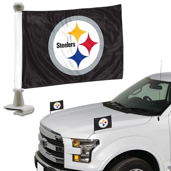 Pittsburgh Steelers Team Logo Ambassador Car Flag Set NFL