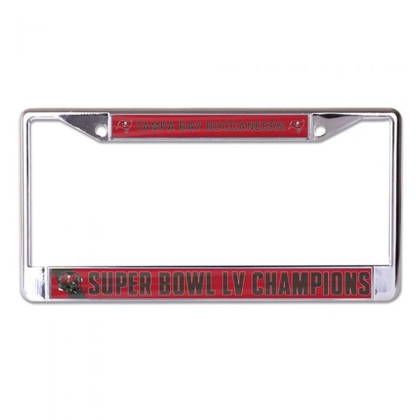 Tampa Bay Buccaneers Super Bowl LV Champions Laser Inlaid Acrylic Chrome License Plate Frame