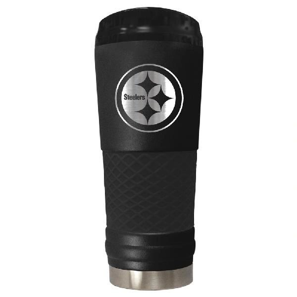 NFL Team Logo Black Matte Stealth Draft Stainless Steel Travel Tumbler, 24oz.