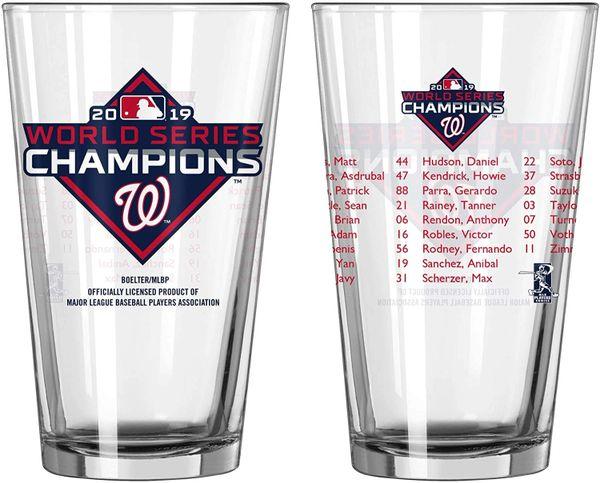 Washington Nationals 2019 World Series Champions Roster Pint Glass 16oz. MLB