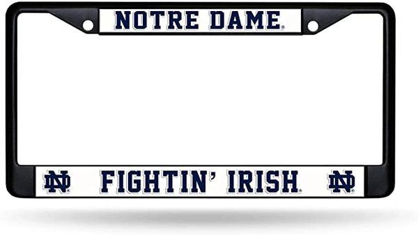 Notre Dame Fighting Irish BLACK Chrome Metal License Plate Frame NCAA
